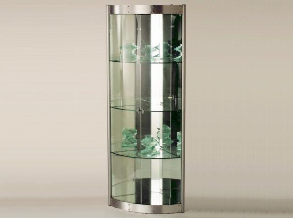 Corner Glass Curio CI-6617 Silver