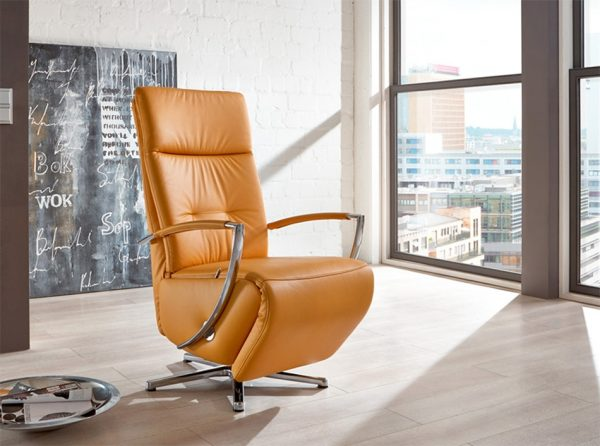 Berlin Leather Recliner Chair by Nordholtz | Curry