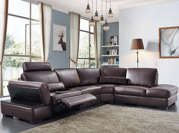 Modern Leather Sectional Sofa EF-445 w/ Recliner