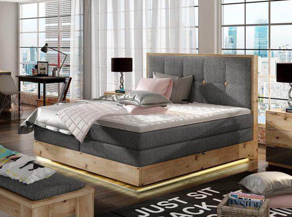 LED Wooden Storage Box Spring Bed Etno