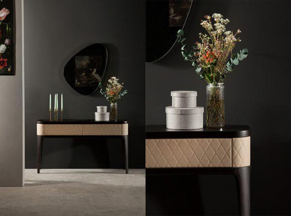 Italian Upholstered Console Table Tiffany by Tonin Casa
