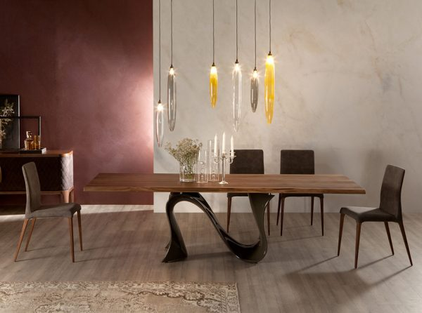 Solid Wood Dining Table Wave by Tonin Casa